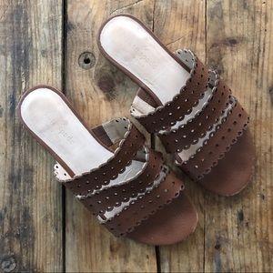 Kate Spade 6W ♠️ Brown Laser Cut Slides Sandals